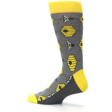 Image of Gray Yellow Honey Bees Men's Dress Socks (side-2-13)