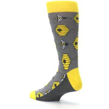 Image of Gray Yellow Honey Bees Men's Dress Socks (side-2-back-14)