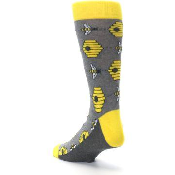 Image of Gray Yellow Honey Bees Men's Dress Socks (side-2-back-15)