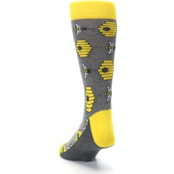 Image of Gray Yellow Honey Bees Men's Dress Socks (side-2-back-16)