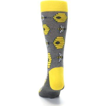 Image of Gray Yellow Honey Bees Men's Dress Socks (back-17)