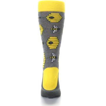 Image of Gray Yellow Honey Bees Men's Dress Socks (back-18)
