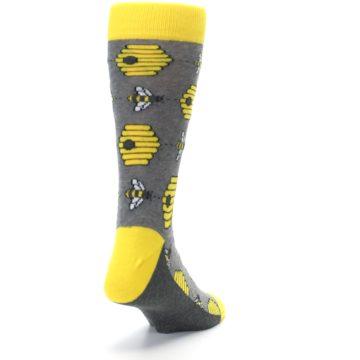 Image of Gray Yellow Honey Bees Men's Dress Socks (side-1-back-20)