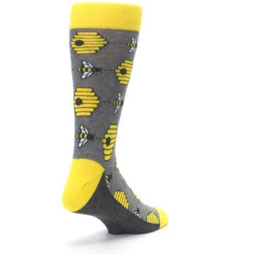 Image of Gray Yellow Honey Bees Men's Dress Socks (side-1-back-21)