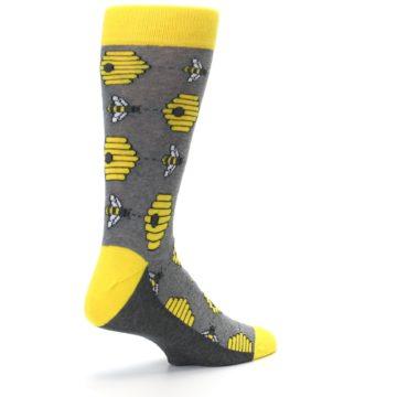 Image of Gray Yellow Honey Bees Men's Dress Socks (side-1-back-22)