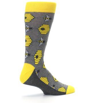 Image of Gray Yellow Honey Bees Men's Dress Socks (side-1-23)