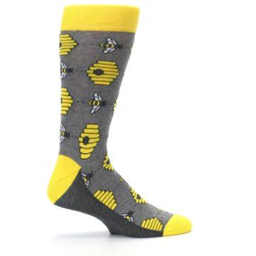 Image of Gray Yellow Honey Bees Men's Dress Socks (side-1-24)