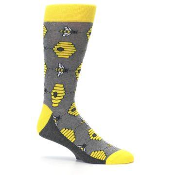 Image of Gray Yellow Honey Bees Men's Dress Socks (side-1-25)