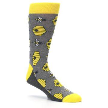 Image of Gray Yellow Honey Bees Men's Dress Socks (side-1-26)