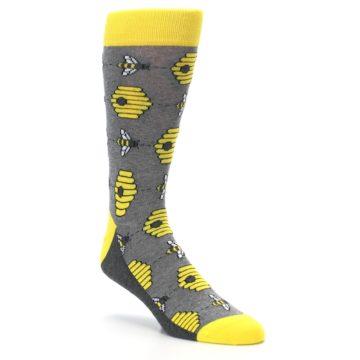 Image of Gray Yellow Honey Bees Men's Dress Socks (side-1-27)