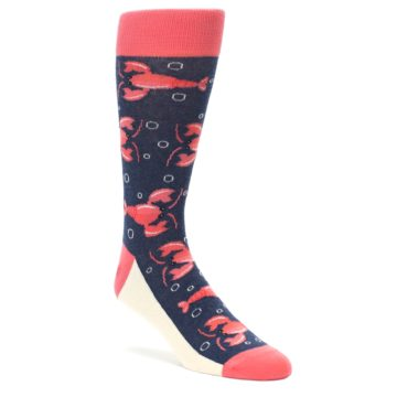 Coral and Navy Lobster Socks for Men