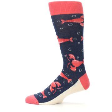 Image of Navy Coral Lobsters Men's Dress Socks (side-2-12)