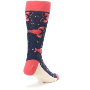 Image of Navy Coral Lobsters Men's Dress Socks (side-1-back-21)