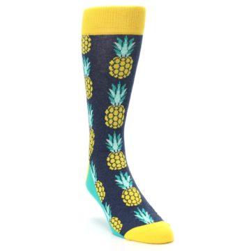 Image of Navy Yellow Pineapple Men's Dress Socks (side-1-front-02)