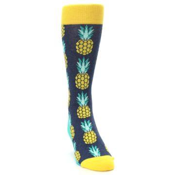 Image of Navy Yellow Pineapple Men's Dress Socks (side-1-front-03)