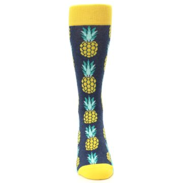 Image of Navy Yellow Pineapple Men's Dress Socks (front-04)