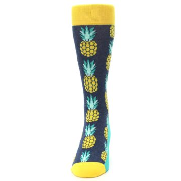 Image of Navy Yellow Pineapple Men's Dress Socks (front-05)