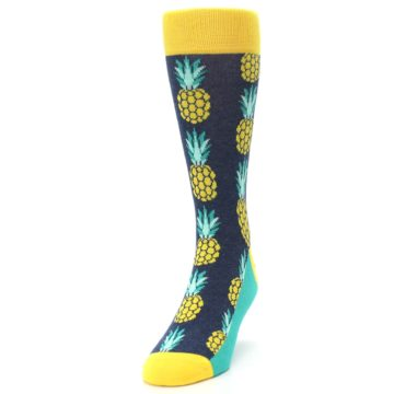 Image of Navy Yellow Pineapple Men's Dress Socks (side-2-front-06)