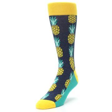 Image of Navy Yellow Pineapple Men's Dress Socks (side-2-front-07)