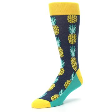 Image of Navy Yellow Pineapple Men's Dress Socks (side-2-front-08)
