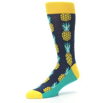 Image of Navy Yellow Pineapple Men's Dress Socks (side-2-09)