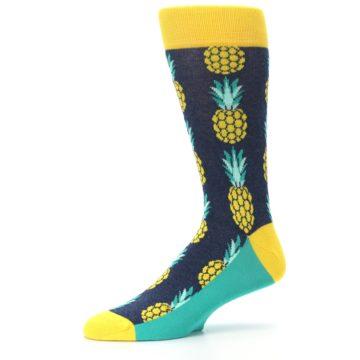 Image of Navy Yellow Pineapple Men's Dress Socks (side-2-10)