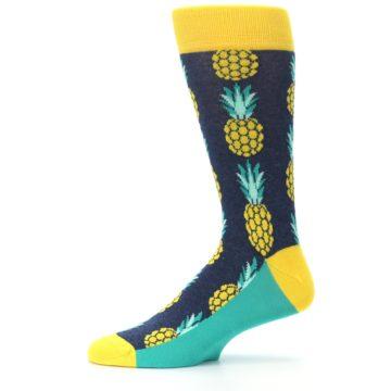Image of Navy Yellow Pineapple Men's Dress Socks (side-2-11)