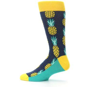 Image of Navy Yellow Pineapple Men's Dress Socks (side-2-12)