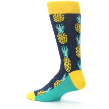 Image of Navy Yellow Pineapple Men's Dress Socks (side-2-13)