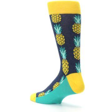 Image of Navy Yellow Pineapple Men's Dress Socks (side-2-back-14)