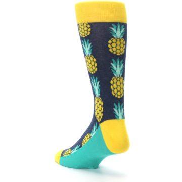 Image of Navy Yellow Pineapple Men's Dress Socks (side-2-back-15)