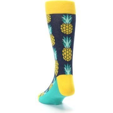 Image of Navy Yellow Pineapple Men's Dress Socks (side-2-back-16)