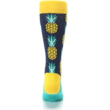 Image of Navy Yellow Pineapple Men's Dress Socks (back-18)