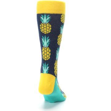 Image of Navy Yellow Pineapple Men's Dress Socks (back-19)
