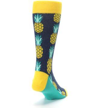 Image of Navy Yellow Pineapple Men's Dress Socks (side-1-back-20)