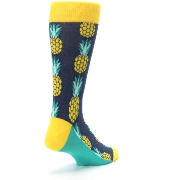 Image of Navy Yellow Pineapple Men's Dress Socks (side-1-back-21)