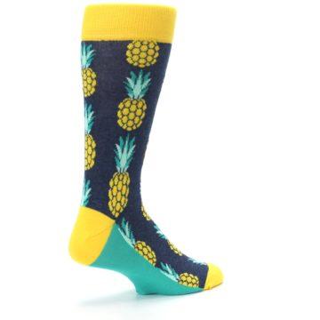 Image of Navy Yellow Pineapple Men's Dress Socks (side-1-back-22)
