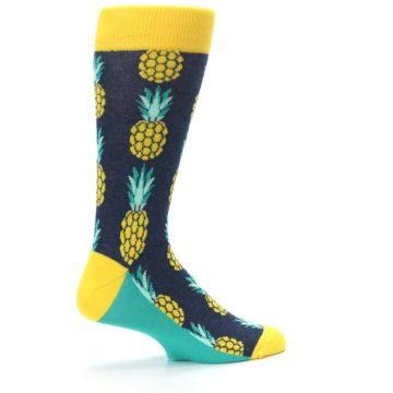 Image of Navy Yellow Pineapple Men's Dress Socks (side-1-23)