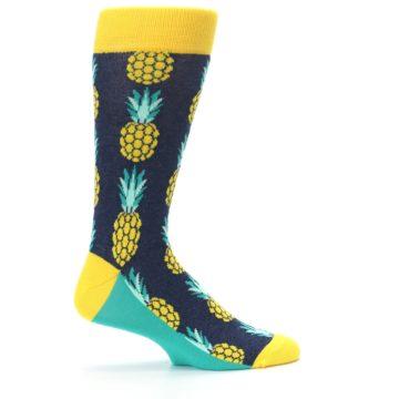 Image of Navy Yellow Pineapple Men's Dress Socks (side-1-24)