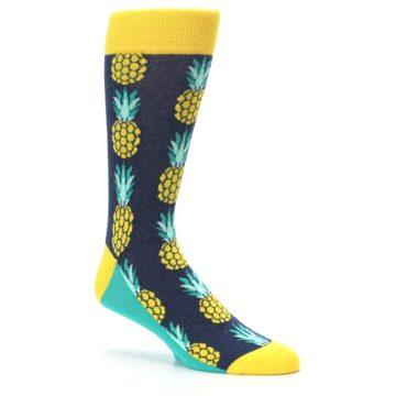 Image of Navy Yellow Pineapple Men's Dress Socks (side-1-26)
