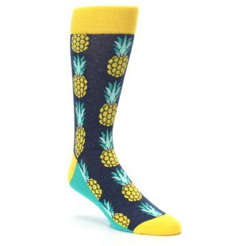Image of Navy Yellow Pineapple Men's Dress Socks (side-1-27)
