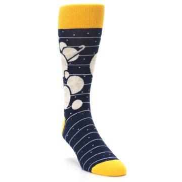 Image of Navy Beige Solar System Men's Dress Socks (side-1-front-02)