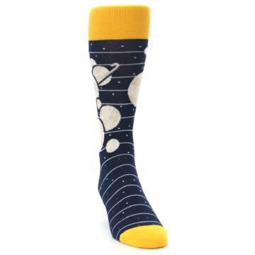 Image of Navy Beige Solar System Men's Dress Socks (side-1-front-03)