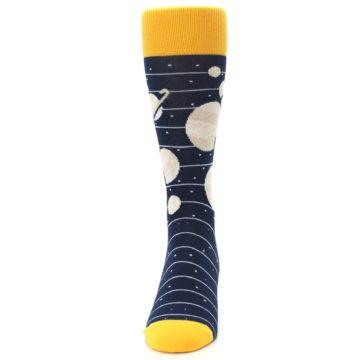 Image of Navy Beige Solar System Men's Dress Socks (front-05)