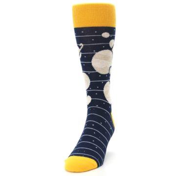 Image of Navy Beige Solar System Men's Dress Socks (side-2-front-06)