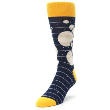 Image of Navy Beige Solar System Men's Dress Socks (side-2-front-07)
