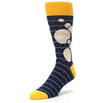 Image of Navy Beige Solar System Men's Dress Socks (side-2-front-08)