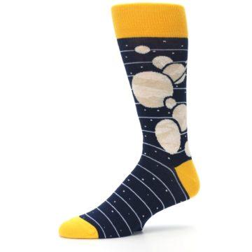 Image of Navy Beige Solar System Men's Dress Socks (side-2-10)