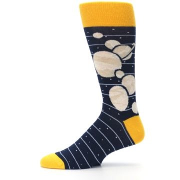 Image of Navy Beige Solar System Men's Dress Socks (side-2-11)