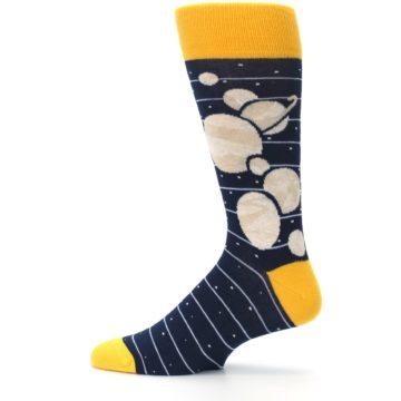 Image of Navy Beige Solar System Men's Dress Socks (side-2-12)
